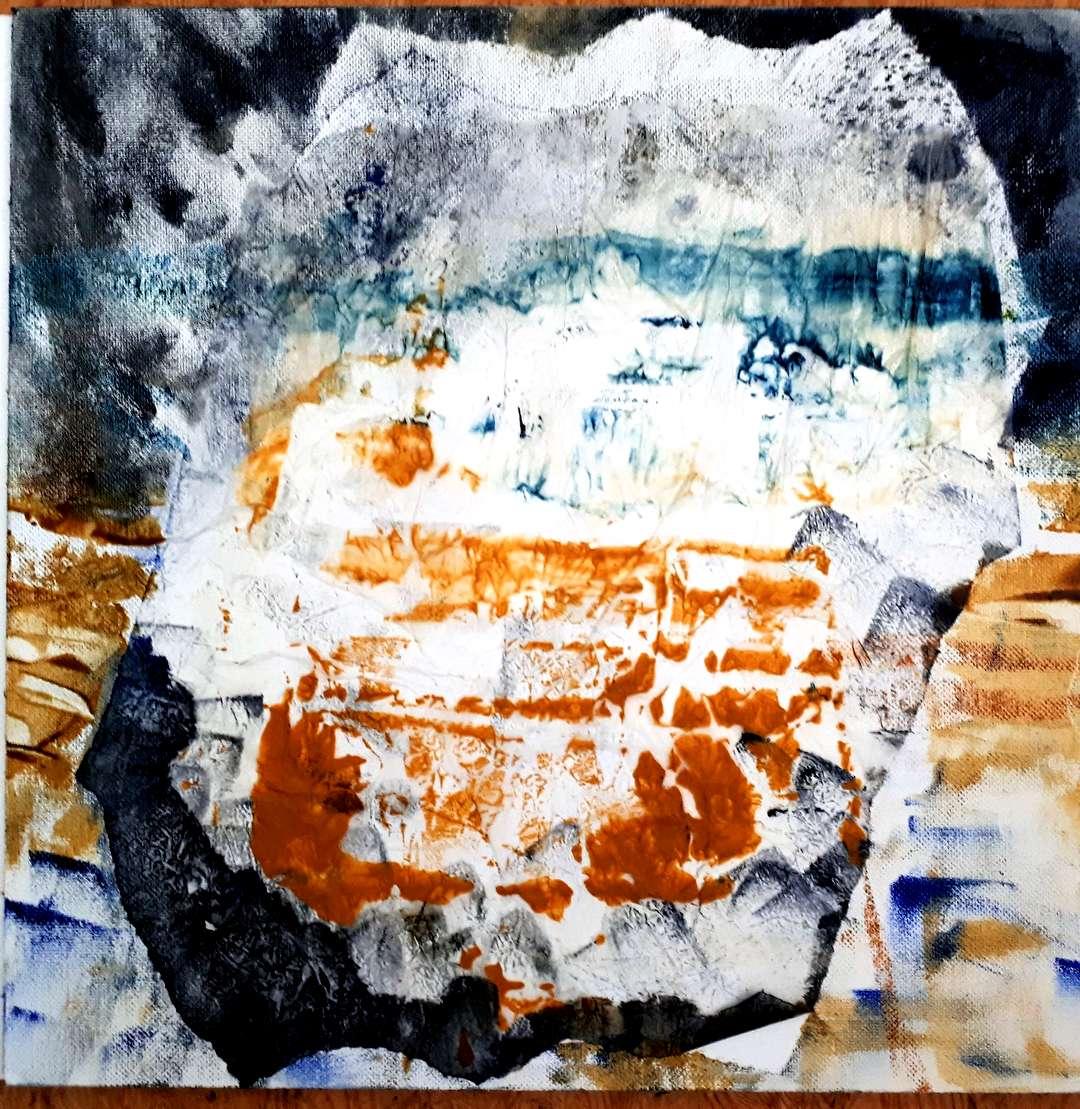 Abstrakt aus Öl und Papier