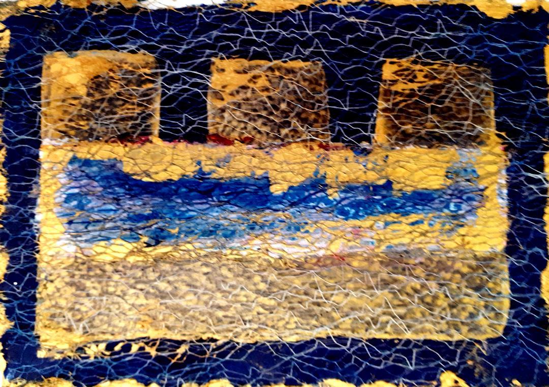 Abstrakt aus Öl und Textil